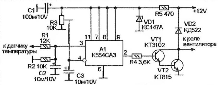 Электронный датчик вентилятора