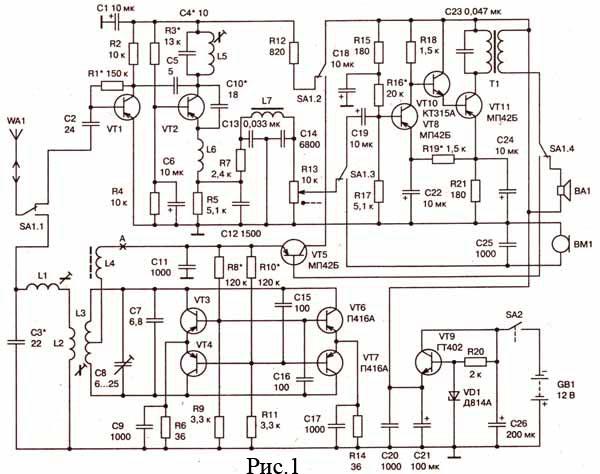 Схема карманной радиостанции